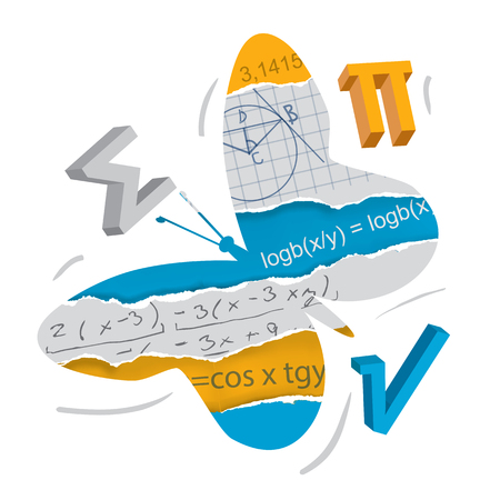 Easy learning of mathematics. and geometry, butterfly concept. Butterfly silhouette with mathematical symbols on torn paper. Concept symbolizing the easy learning of mathematics and geometry. Vector available Illustration