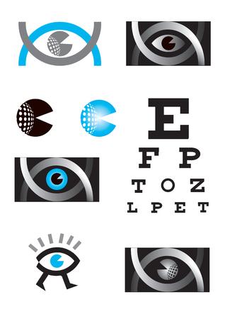 Optician, eye, icon set. Icons Set with Optician, eye test, eye care, eye diagnostic.Vector available.