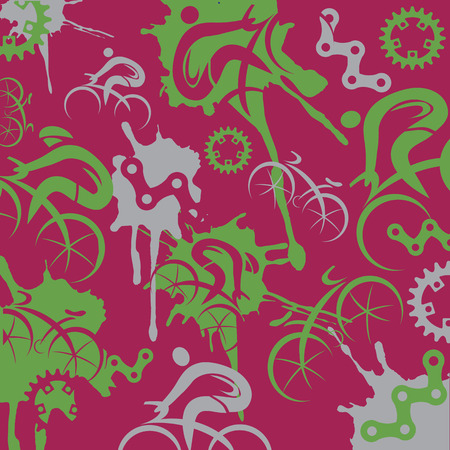 Cyclists and cycling components expressive background.  Illustration of background with cyclist and cycling icons on red background. Vector available.