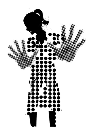 Young woman black silhouette victim of violence. Grunge stylized woman black silhuette with arms in defensive position.Vector available.