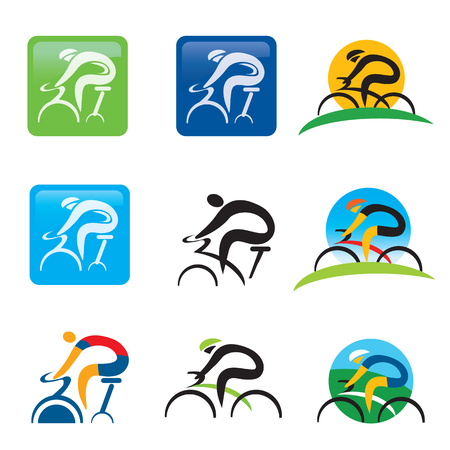 Spinning cycling icons buttons. Set of colorful cycling and spinning icons and web buttons. Vector illustration.