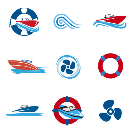 Motor Boat icons set. Set of colorful icons with Motor Boats and propellers. Vettoriali