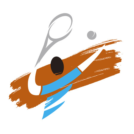 Tennis player icon. Expressive Stylized illustration of Tennis player serving tennis ball. Vector available. Ilustração