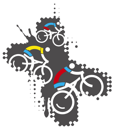 Bicycle riders, mountain bike extreme sports.  Illustration of three cyclists ikons on grunge background. In the x-shaped background. Vector available.