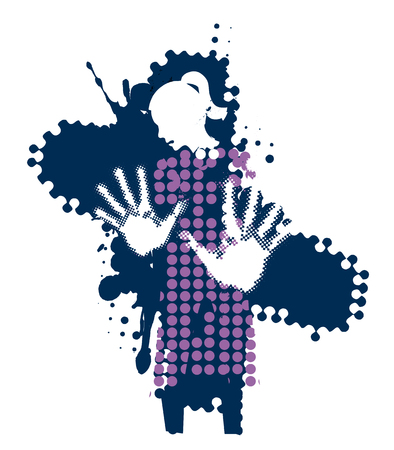 Young woman, fear of violence. Grunge stylized woman silhuette with arms in defensive position. Vector available. Illustration