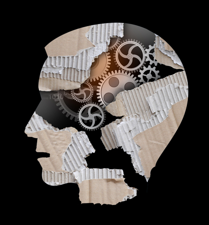 Depression, stress, burnout syndrome concept. Stylized Male head silhouette .Photo-montage with ripped cardboard and gear.