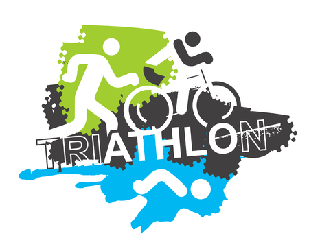 Triathlon race icons background.  Stylized icons of Three triathlon athletes on the grunge background. Motive for T-shirt. Vector available.