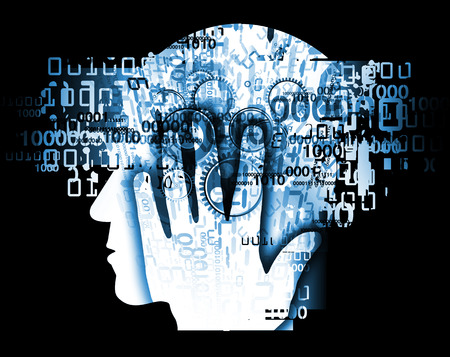 Burn out syndrome,Stress Overworked man. Stylized male head silhouette holding his head, with binary codes and gear.