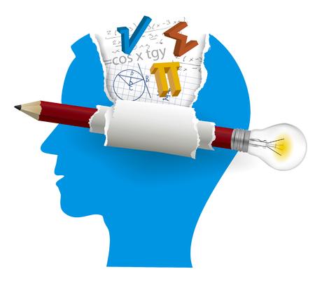 Inteligentne rozwiązania, Student matematyki. Stylizowana sylwetka męskiej głowy z symboli matematycznych i ołówek z żarówką. Na białym tle. Wektor dostępny. Ilustracje wektorowe