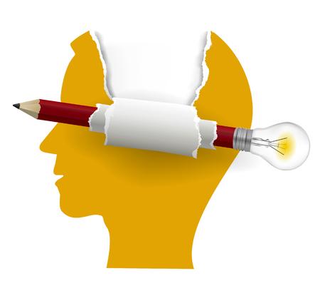 Soluciones inteligentes, concepto de cabezal de papel. Silueta de cabeza masculina estilizada con lápiz creativo con bombilla. Lugar para su texto. Aislado sobre fondo blanco, Vector disponible.