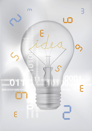 Light bulb, digital technology ideas. Illustration with bulb with inscription idea and digital numberson on white background.Vector available.
