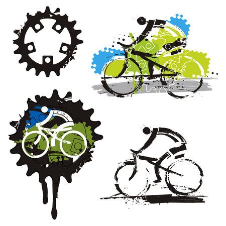Mountain bike Cycling icons grunge stylized. Set of grunge stylized symbols of cycling. Vector available.