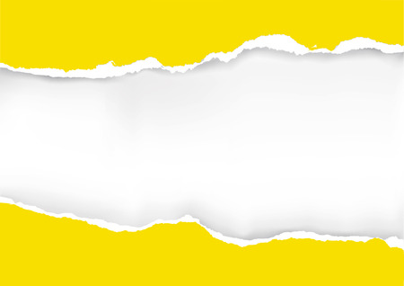 Yellow ripped paper background. llustration of yellow ripped paper with place for your image or text. Vector available. Stock Illustratie