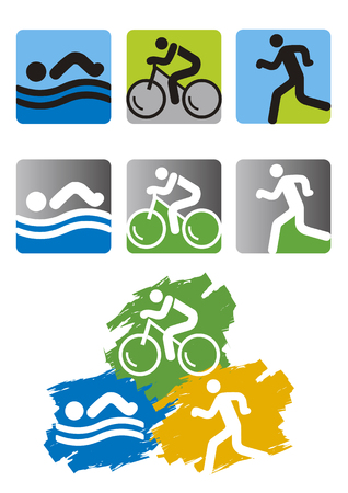Triathlon race icons.  Set of colorful triathlon icons. Vector available.