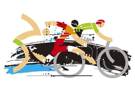 Triathlon race expresiv stylized. Expresiv Stylized illustration of Three triathlon athletes on the grunge background. Vector available.