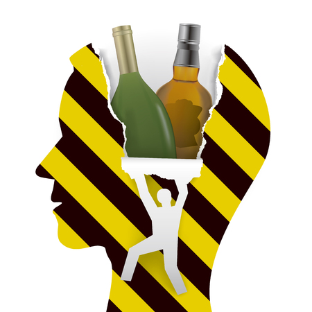 Danger alcohol addiction. Male head in profile with alcohol botlles, yellow-black stripes, and male silhouette ripping paper background.Alcohol addiction concept. Vector available.