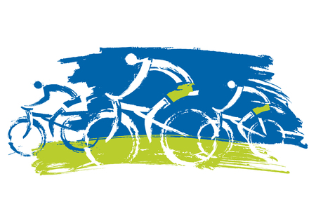 Cyclists biking outdoors. Grunge Stylized illustration of three cyclists. Isolated on white background. Vector available.