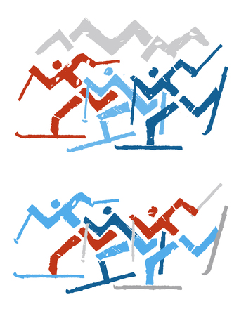 Cross country Skiers. Two stylized illustrations of cross-country skiers. Isolated on white background. Vector available.