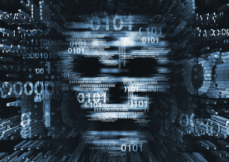 Computer virus skull concept. Illustration of Abstract Skull sign with binary codes on blue background. Concept for online piracy, hacking.