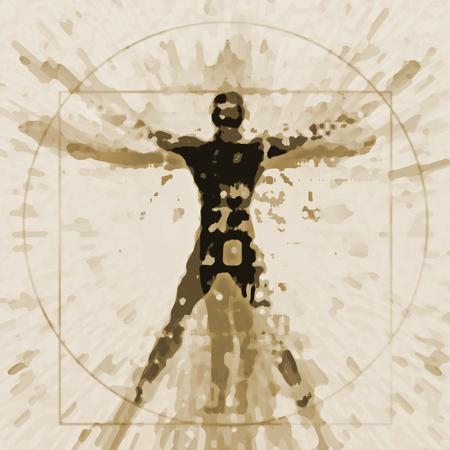 Vitruvian man expressive stylized. An illustration of a decaying silhouette of Vitruvian man.