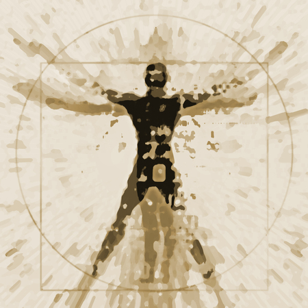 Vitruvian man expressive stylized. An illustration of a decaying silhouette of Vitruvian man.