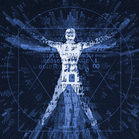 Vitruvian man of digital age.  Futuristic Illustration of vitruvian man with a binary codes symbolized digital age.