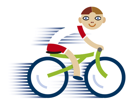 Little boy on bicycle. Stylized illustration of smiling little child on green bicycle. Isolated on white background. Vector available.