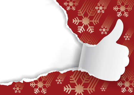 Christmas background with torn paper Thumbs up. Paper silhouette of Thumbs up ripping red Christmas wrapping paper with snowflakes. Place for your text or image. Illustration