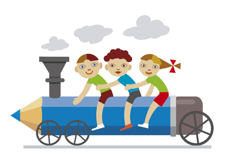 Three little children riding locomotive pencil. Illustration of Three Happy smiling friends,little children on locomotive pancil. The concept of holiday ending. Illustration