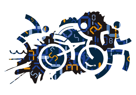 Triathlon race with digital numbers background. Stylized icons of Three triathlon athletes with digital numbers symbolizing time measurement. Vector available.