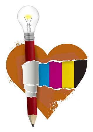 I love graphic design, heart symbol. Creative pencil with bulb ripping red paper heart with print colors.Vector available. 일러스트