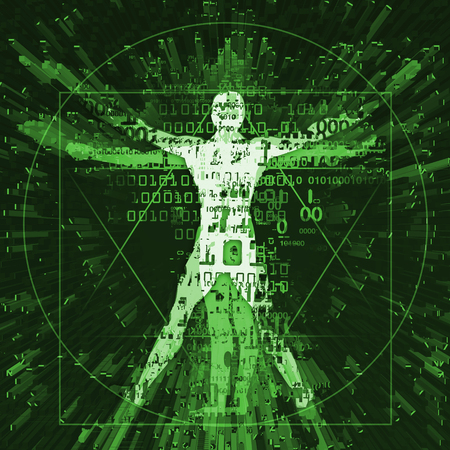 Vitruvian man of digital age, green background. Illustration of vitruvian man with a binary codes symbolized digital age on green background. Concept for danger of cyber space