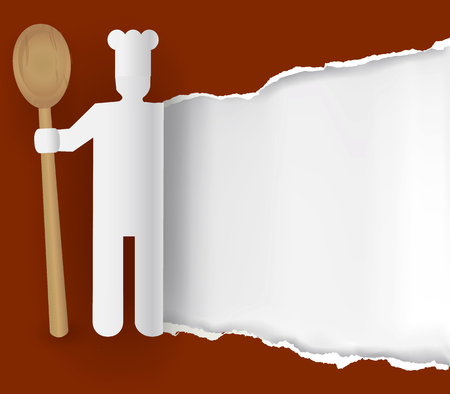 Cook wit spoon, recipes background. Paper Symbol of cook with spoon ripping paper background .Place for your text or image. Vector available.