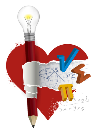 I love mathematics,fun math concept. Mathematics symbols inside the heart symbol with pencil with bulb. Isolated on white background. Vector illustration.