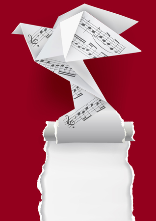 Origami dove with musical notes. Origami paper pigeon with musical notes ripping red paper background. Tamplate for musical poster. Vector available
