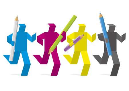 Graphic designer marathon, design teamwork concept.  Four running colored figures in CMYK color mode with coloured pencils. Concept for presenting of graphic desig, print. Vector available.