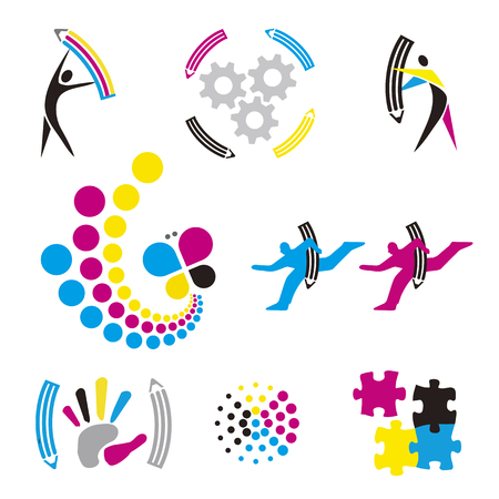 Color print, graphic design icons.  Set of colorful icons and design elements for presentation of color printing and graphic design. Vector available. Illustration