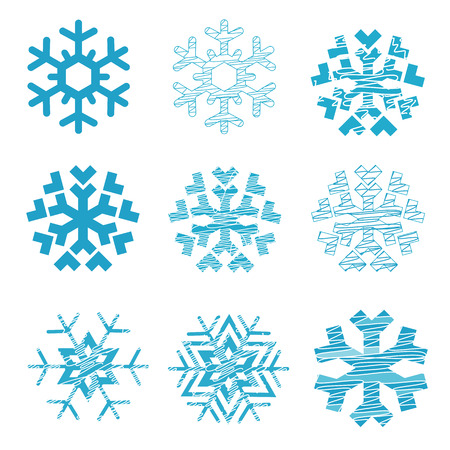 Snowflakes set. Set of nine stylized snowflakes. Isolated on white background. Vector available.