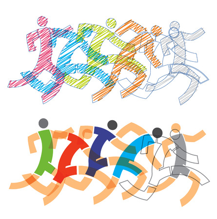 Competition runners, full speed. Two different Stylized illustrations of runners.Isolated on white background. Vector available.  イラスト・ベクター素材