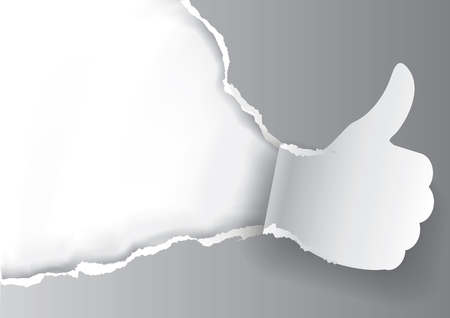 Thumbs up Ripped grey paper background.  Paper background with torn thumbs up. Place for your text or image. Use full as Advertisement template. Vector available.