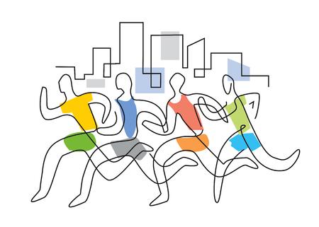 Course à pied marathon, dessin au trait stylisé. Illustration stylisée de lineart coloré de quatre coureurs en cours d'exécution dans une ville. Vecteur disponible.
