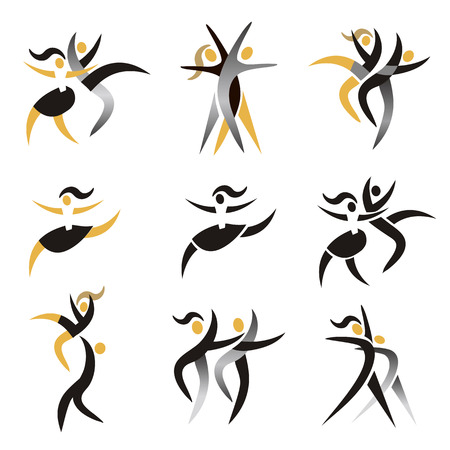 Modern dancing, expresiv stylized icons. Set of colorful modern dancing icons.Vector available. Illustration