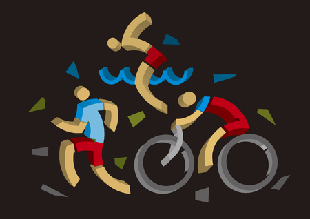 3D design stylized Triathlon athletes. Three 3D design stylized athletes symbolizing triathlon, swimming, running and cycling on black background. Vector available.
