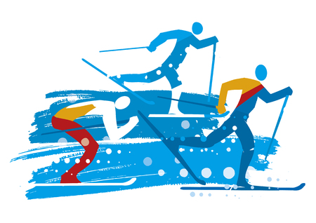 Cross country skiers grunge stylized. Illustration of three stylized cross country skiers. Isolated on white background. Vector available.