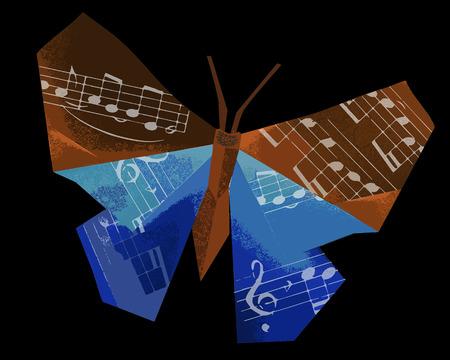 Dunkler Papierschmetterling mit Musiknoten. Illustration des dunklen Papierorigami-Schmetterlings mit weißen Noten auf schwarzem Hintergrund. Konzept für klassische Musik.