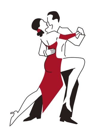Ballroom dancers,couple. Stylized illustration of young couples dancing tango, foxtrot. Isolated on white background. Vector available.