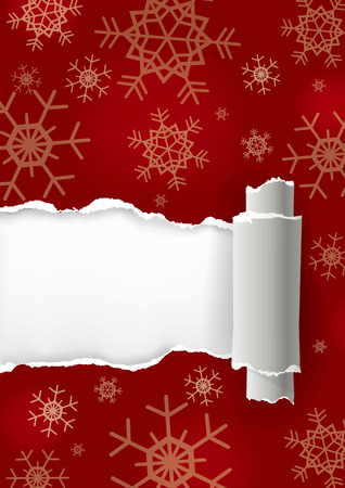 christmas torn paper background. Ripped red Christmas paper with snowflakes. Place for your text or image. Vector available.