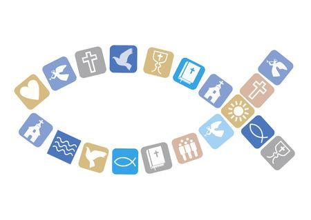 Jesus Fish symbol with christian symbols. Christian fish symbol with other colorful Christian symbols. Isolated on white background. Vector available. Ilustração