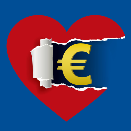 Heart and currency euro sign. Ripped paper heart with currency euro symbol.Love and money concept. Vector available. Illustration