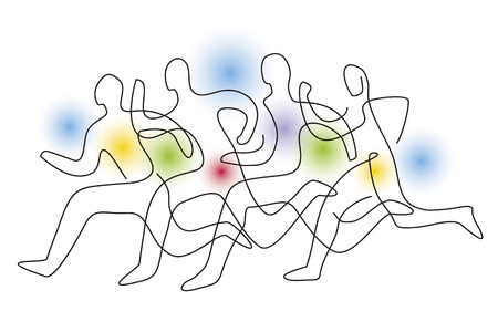 Running race, competition, line art stylized. Colorful lineart stylized illustration of four running racers on gradient abstract background. Vector available.